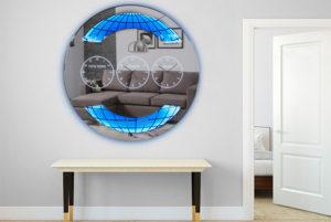 Καθρέπτης τοίχου ρολοϊ με φωτισμό led
