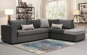Μοντέρνο γωνιακό σαλόνι με γαλλικό φυτίλι