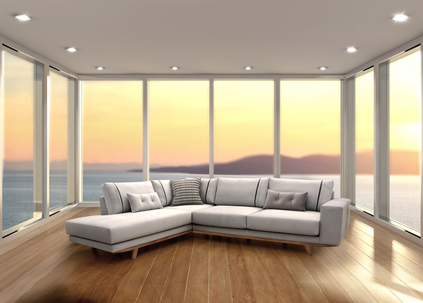 Γωνιακό σαλόνι με βάση από μασίφ ξύλο