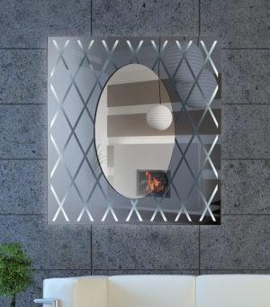 Καθρέπτης τοίχου χειροποίητος ορθογώνιος με τεχνοτροπία