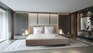 Υπέρδιπλο κρεβάτι ντυμένο με αδιάβροχο ύφασμα