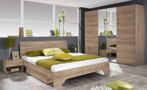 Πλήρες σετ κρεβατοκάμαρας με συρόμενη ντουλάπα