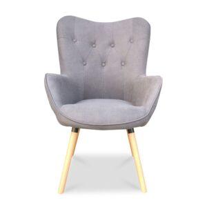 Πολυθρόνα γκρι χρώμα με καπιτονέ πλάτη