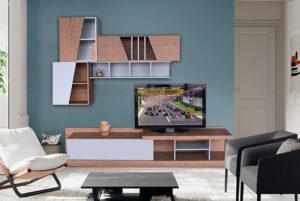 Σύνθεση τηλεόρασης σε δρυ με λάκα