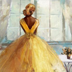 Πίνακας καμβάς γυναικεία φιγούρα – κίτρινη τουαλέτα με φύλλο χρυσού