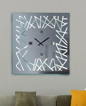 Τετράγωνος χειροποίητος καθρέπτης ρολόι με τεχνοτροπία και φωτισμό Led